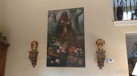 Antique Oil on canvas hunting scene painting, over 8' tall!