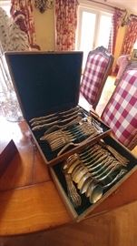 Wallace Grand Victorian Sterling Silver Flatware Set in case, Serving for 8