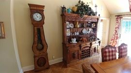 Antique Morbier Tall Case Clock (Running perfectly),  Early carved oak sideboard
