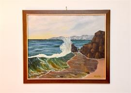 Framed Original Artwork / Painting of Seashore
