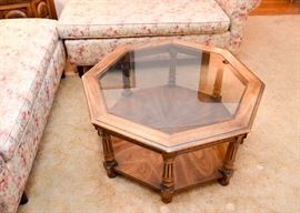 Vintage Wood & Glass Octagonal Coffee / Cocktail Table