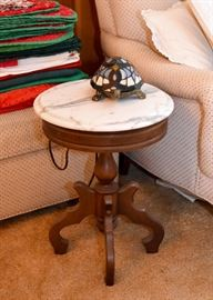 Vintage / Antique Round Side Table with Marble Top