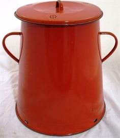 #4016 Red enamel covered pot