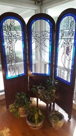 Hand crafter, signed, stained glass folding screen - may be used flat or folding.