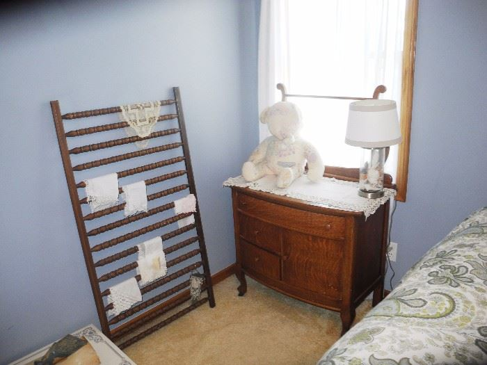 Antique dresser w/harp, vintage hankies