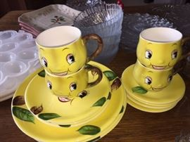 Smiley pear PY anthropormorphic dish set - hard to find!