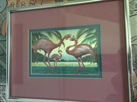 metalic flamingo print