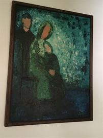 vintage family oil painting