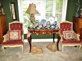 Pair of Italian arm chair, French table/desk, Wedgwood collection, pair of concrete lions