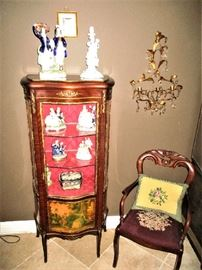 French curio cabinet, Sraffordshire, Dresden, needlepoint chair