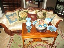 Victorian sofa, Fenton, needlepoint pillows