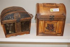 Two small wood chests