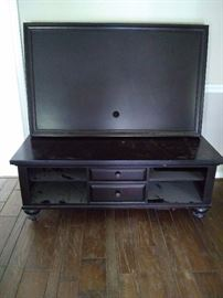 Vintage solid wood TV stand with large wood frame