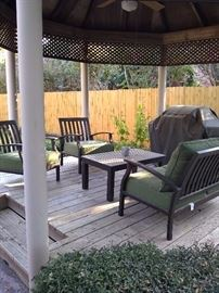 Wooden patio furniture with cushions 4 piece set. Gas grill