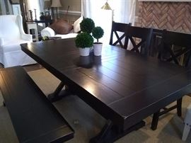 Wood dinner table with three chairs and one bench