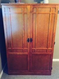 Solid Oak Cabinet With Desk Inside (see Additional Photo)