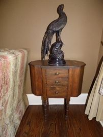 Bronze Peacock statue (1 o 2) on Martha Washington Sewing Table