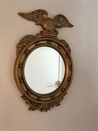 Wall Mirror Brass paint, Eagle ornament  15in W / 24in L