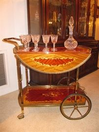 marquetry tea/beverage cart with set of Waterford stemware and decanter
