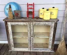 Old primitive cabinet, enamelware etc.