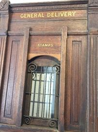 Here's where you purchased your stamps! Heavy ornate oak panel. One of multiple panels.