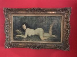 "Antique Oringinal W. Cartland Butterfield Nude Oil Painting 16"" x 30"""