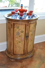Barrel Bar Hand Painted with Wine Rack