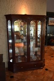 "High Quality Lighted Curio with Beveled Glass Doors and Sides, Thick Glass Shelves, Mirrored Back. 77"" Tall X 55"" Wide"