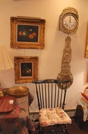 Art, Decorative Wall Clock and Stenicled Spindle Back Chair