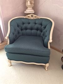 """French Italian Provincial barrel tufted chair. There are two of this style, one in blue and one in gray. Can be used for the bedroom or formal living room. $300 each measurements seat to floor 18"""" 29""""D x 32""""H seat is 20"""" x 21"""""""