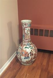 Pair vintage Chinese floor urns