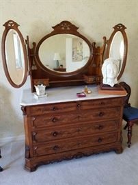 This is a beauty - Vintage/Antique Vanity/Dresser with Mirrors and Marble Top.