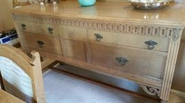 closeup of sideboard - this is an older piece, c1920's, Gregory Furniture, that has been refinished to match the table!  Clever and gorgeous!