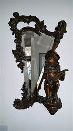 INCREDIBLE 1800's carved mirror with figural addition...see next photo for matching table that goes with...