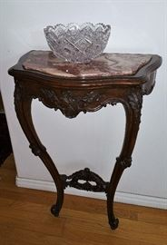 Demilune marble top table that goes with figural carved mirror...amazing piece!  Mid 1800's