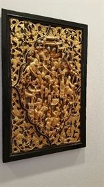 "Incredible gold gilt temple carving...about 16x20"", framed...more photos to come"