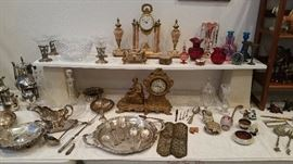WOW!  Elegant items galore -- silver plate serving pieces, antique clocks, victorian glassware, torquay mottoware  -- MORE!