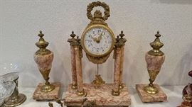 Antique French clock - three piece set - Lardot & Boyon, Paris...lots of gold ormolu on marble!!!  WOW