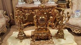 Antique very heavy clock with candelabras