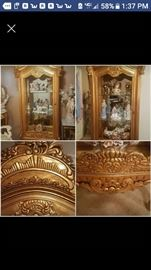 24 karat gold leaf glass cabinet with shelves and mirror with lights included
