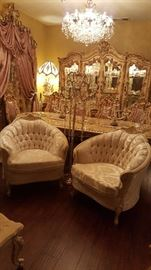 Two French provincial white chairs