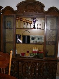 China cabinet, serving bowls, ice buckets, candle holders
