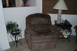 Recliner, occasional tables, decor