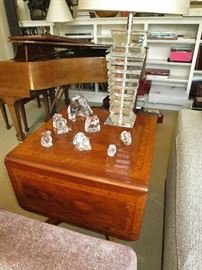Pembroke Inlaid Side Table NOT for sale, w/ Baccarat and Lalique Items are available;  Stacked Acrylic Lamp NOT for sale.