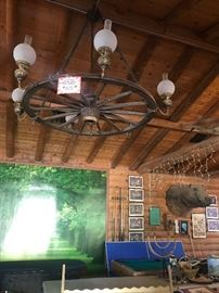 5ft Wagon Wheel Chandelier (Working) Pool table and poker table