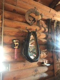 (2)Horse Collar Mirrors  (2) Ram Horns