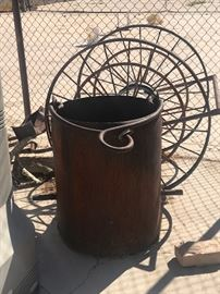 Fire Hose on push/pull wagon LARGE COAL BUCKET