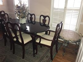 Queen Anne dining table and chairs, iron coffee table with marble top