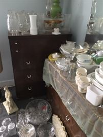 Misc. Glassware: Pyrex, Cut Glass Highboy, Lowboy, Dressers, Vintage 1950's, 1960's