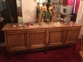 Vintage Mid Century Modern marble topped Credenza, Pair of Statutes, Pair of Electric Hurricane Lamps